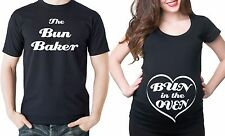 Pregnancy Funny Couple Bun In The Oven T-shirts Couple Costume T-shirts