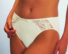 Naturana #4067 high cut control brief panty lace trim, cream or black size S/10