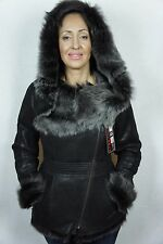Dark Brown Genuine Toscana Sheepskin Shearling Leather Hood Jacket Coat XS-5XL