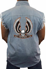 Men's Biker Sleeveless Denim Shirt Old School Ride to Live Live to Ride Skull Wi