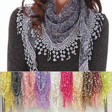 Fashion Women Sheer Long Floral Print Triangle Mantilla Scarf Shawl Tassel Gift