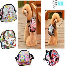 Pet Dog Backpack and Leash Set Mesh Harness Puppy Outdoor Food Carrier Bag S-L