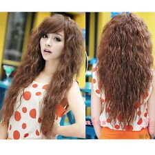 Black/Brown Corn Fashion Lady long full Wig curly wavy cosplay daily party wig