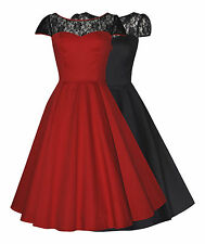 Classic 50's Vintage Lace Insert  Full Circle Party Evening Cocktail Dress 8-26