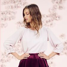 LC LAUREN CONRAD RUNWAY COLLECTION BOW-SLEEVE BLOUSE in HUSHED VIOLET;NWT