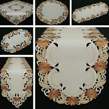 Beautiful Marguerite Table runner Doily Tablecloth Cream Brown Flower Embroidery