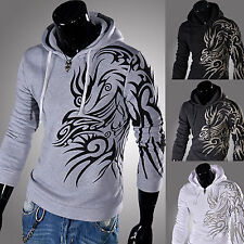 Mens Dragon Tattoo Print Sexy Slim Fit Top Designed Hooded Hoodies Jackets Coats