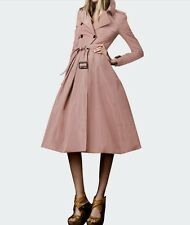 Retro Belted skirted double-breasted Trench Coat w/ Lapels  1x-10x (SZ16-52)G290