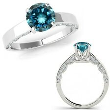 1.25 Carat Blue Diamond Vintage Beautiful Solitaire Wedding Ring 14K White Gold