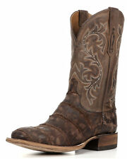 "MEN'S LUCCHESE EXOTICS ""MALCOM"" GIANT ALLIGATOR WESTERN BOOTS CHOCOLATE M4343"