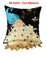 Fancy Vivid Peacock Embroidery Decorative Throw Pillow Case Cushion Cover Sham 2