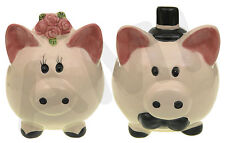 BRIDE & GROOM CERAMIC WEDDING PIGGY BANK MONEY BOX WEDDING FAVOURS PRESENT GIFT