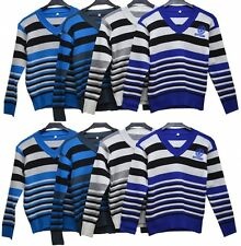Boys Kids Winter Cable Knit Jumper Wool Pullover Top Sweater V Neck Hoodie New