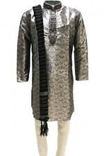 MKP3168 Grey and Black Men's Kurta Pyjama  Indian Suit Bollywood Sherwani