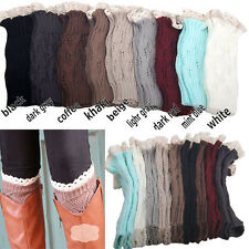 Lady Women's Crochet Knitted Lace Trim Boot Cuffs Toppers Leg Warmers Socks