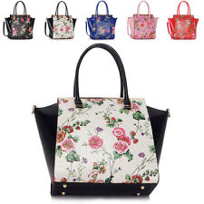 New Medium Floral Tote Ladies Handbag Snake Faux Patent Leather Shoulder Bags UK
