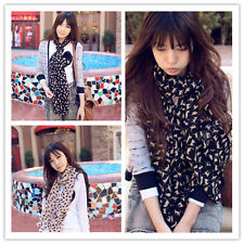 New Womens Lady Chiffon Silk Animal print Long Neck Scarf Shawl Wrap Stole W018