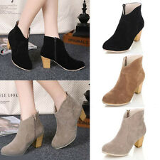 Womens Ladies Winter Riding Ankle Cowboy Boots Mid heel Rider Fashion Shoes Boot