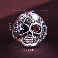 Unisex Vintage Multicolor Crystal Rhinestone Skull Head Punk Biker Finger Ring