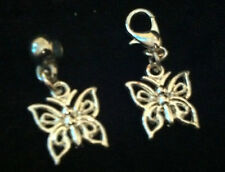 Silver Plated Butterfly Charm Clip on clasp or bail for snake bracelets