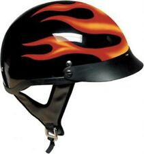 DOT RED FLAME MOTORCYCLE HALF HELMET  BEANIE SHORTY HELMET BAG INCLUDED -NEW
