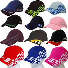MOTORSPORT BASEBALL CAP Motor Racing Chequered Flags ADULTS & CHILDRENS