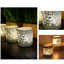 Mosaic Glass Candle Holder Cup Tealight Votive Candlestick Home Wedding Decor