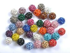 100PCS CZECH CRYSTAL RHINESTONES PAVE CLAY ROUND DISCO BALL SPACER BEADS 10MM