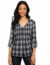 NEW DKNY Women's Plaid gauze button up top Blue & White NWT