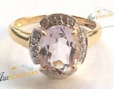 Real Solid 9K Yellow Gold 2.01ct Genuine Natural Pink Amethyst & Diamond Ring