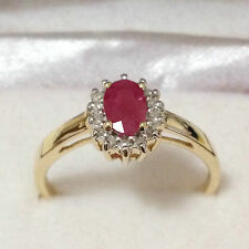 Real 9K Solid Yellow Gold 0.68ct TW Genuine Ruby & Genuine Diamond Halo Ring