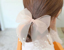 Fashion Girls Pearls Chiffon Big Bowknot Ponytail Holder Bunny Ears Hair Rope