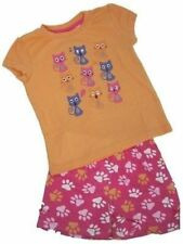 Pyjamas Girls Summer Short Pjs Set (Sz 4)  Orange Pink Cats Sz 3 4 5 6 7