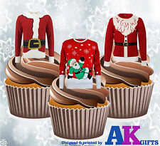 Fun Christmas Santa Jumpers 12 Cup Cake Toppers Edible Stand Up Decorations
