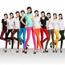 Women Skinny Chic Candy Color Stretch High Waist Pencil Pants Leggings Trousers