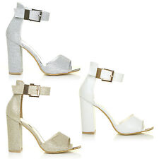 WHITE GOLD SILVER 70'S SEXY GLAM DANCING PARTY GLITTER HEELS SANDALS SHOES SIZE