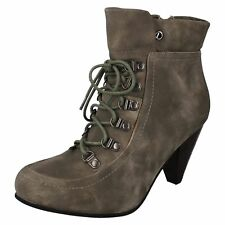 Ladies Fashion Ankle Boot Taupe L8620 Lace Up & Side Zip (R7B)