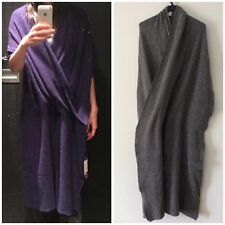 N. Hoolywood Japan Grey Asymmetric Poncho Shawl Wrap Scarf Drape Wool Dress