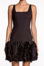 Robert Rodriguez Fit and Flare Ruffle Dress BLACK Crepe Ruffled Silk Skirt NEW