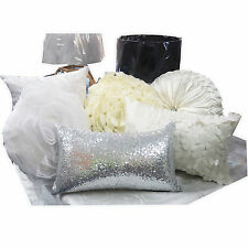 White CUSHION Cover Bed Cushion Vintage Ribbon Suede Velvet Plain White