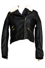 Jubilee Couture Womens Faux Leather Bomber Motorcycle Jacket Fur Collar
