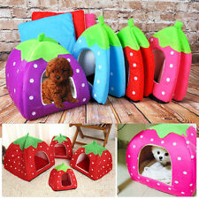 Cute Soft Strawberry Pet Dog Cat Bed House Kennel Puppy Warm Cushion Basket