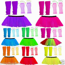 1980'S NEON UV FANCY DRESS HEN PARTY COSTUME8 TUTU GLOVES LEG WARMERS AND BEADS