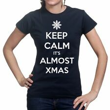 Keep Calm Its Christmas Xmas Tree Party New Gift Present Womens T shirt