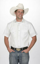 Men's New Western Express Cowboy Sport Rodeo Short Sleeve Solid Shirt White
