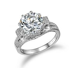3 Carat SONA NSCD Diamond Engagement Wedding Ring 925 Sterling White Gold Plated