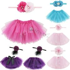 Baby Girl Xmas Gift Tutu Skirt Flower Headband Photo Prop Vintage Costume Outfit
