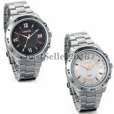 Mens Stainless Steel Band Analog Quartz Roman Numerals Dial Dress Wrist Watch