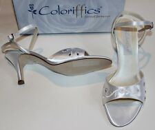 NEW Coloriffics Dyeable White Satin Sandals Shoes Heels Beading w Embroidery $49