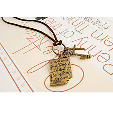 2015 New Retro Shakespeare Love Letter Cross Key Pendant Long Chain Necklace HOT